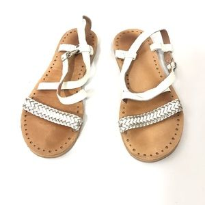 Shoes - White and Silver Leather Ugg Sandals
